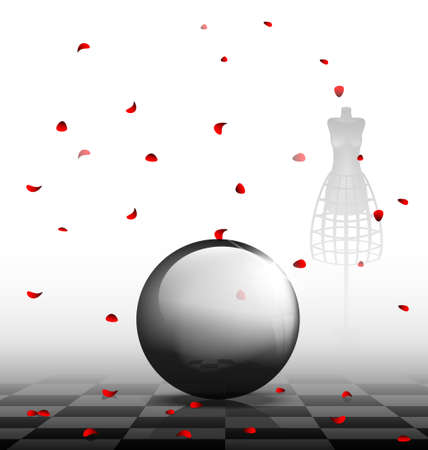 in black-white abstract room are a big black sphere and falling red petals