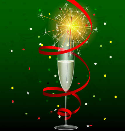 on a dark-green background are a glass of champagne and a sparkler Vector