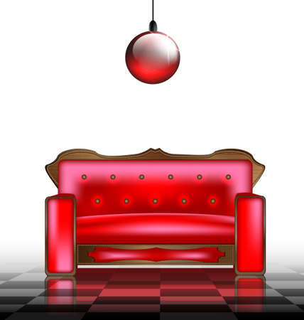 a large red sofa in a abstract white room Vector