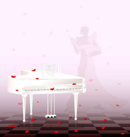 mens: in light room are white grand piano and flying red petals