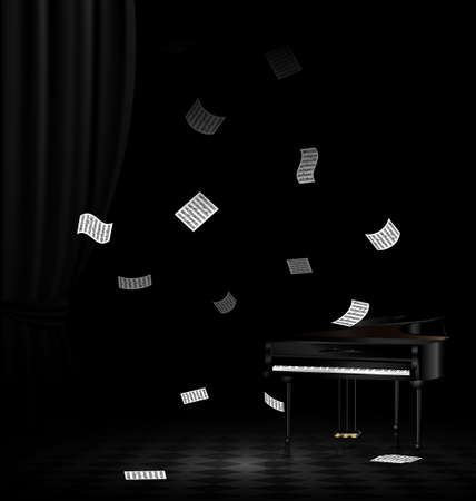 curtian: in dark room are black grand piano and falling sheets of notes Illustration