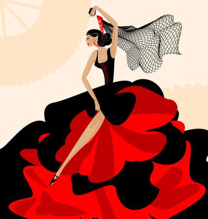 donna spagnola: su sfondo astratto � ballerino spagnolo in rosso-nero vestito Vettoriali