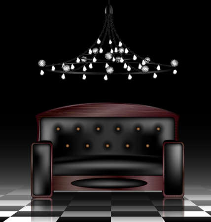 a large black sofa in a abstract dark room Vector