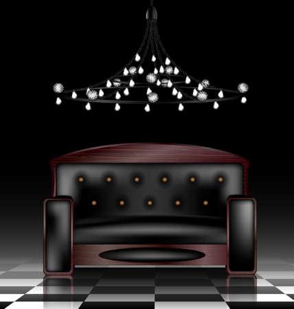 divan: un gran sofá negro en una habitación oscura abstracta Vectores