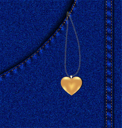 joyas de oro: una imitación de los pantalones vaqueros azules en el bolsillo que - cadena de oro con el corazón Vectores