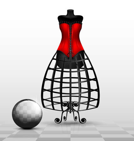 in black-white abstract room is a big black dummy in red corset