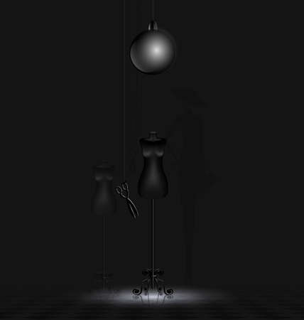 in a dark abstract room are two black dummy and black shadow of dame Vectores