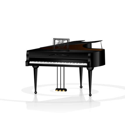 a large black piano in a white room Vector