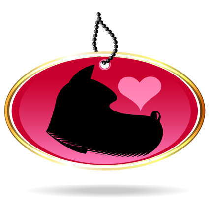 oval keychain with the image of a black dog and a heart Stock Vector - 16657707