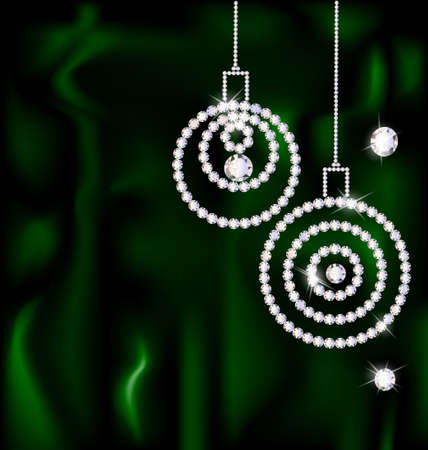 on a dark green silk are two abstract jewelry Christmas balls Illustration
