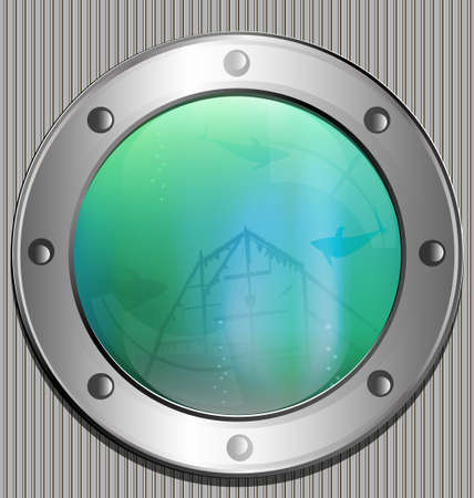 large porthole in it - the sea and silhouettes of a big fish and a old ship Stock Vector - 16657709