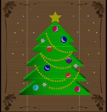 imitation straw mat with a green Christmas tree Vector
