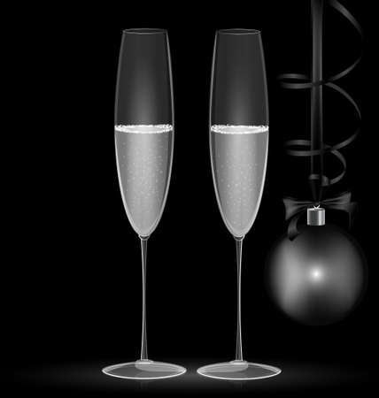 rounde: on black background are two glasses and black-white Christmas decoration