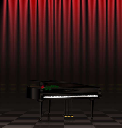 in a dark scene are black grand piano and red rose