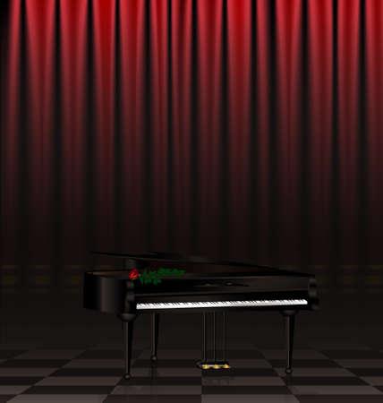 curtian: in a dark scene are black grand piano and red rose