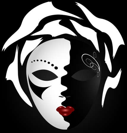 venetian mask: on an dark background is a large white-black carnival mask