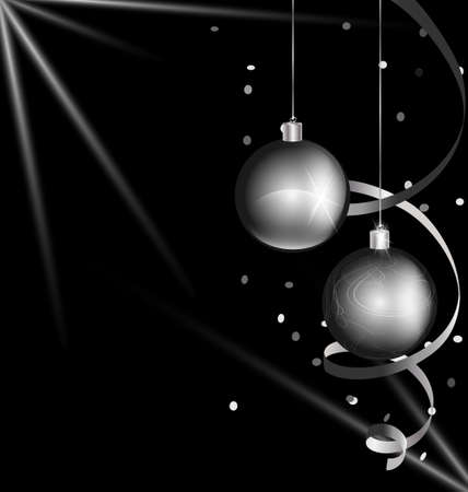 rounde: on black background are black-white Christmas decoration