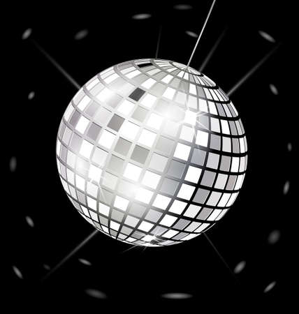 on black background is big black-white specular disco ball Stock Vector - 16939672