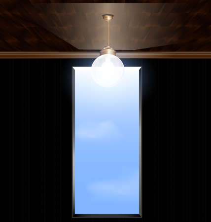 abstract inverted room and a door leading to the sky Vector