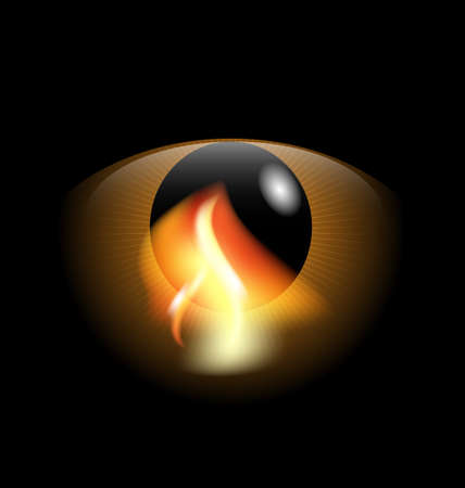 snoot: on an black background is a big abstract eye with reflection of flame