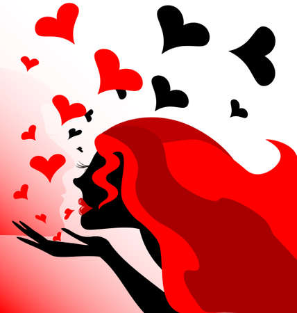 abstract red-haired girl sends kisses and hearts Stock Vector - 18230741