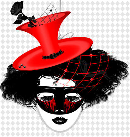 outlines woman s face with red eccentric hat and carnival mask Vector