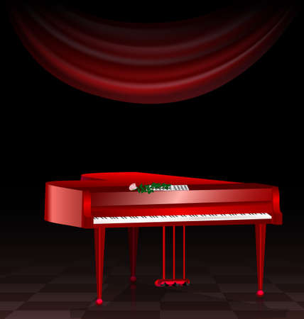 musical theater: in a dark room are a red grand piano, notes and a rose