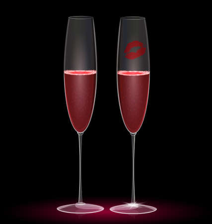 felicitate: on a dark-red background are two glasses and a trace of lip Illustration