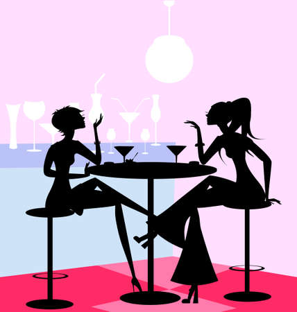 in a abstract cafe are two girl friends  イラスト・ベクター素材