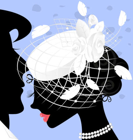 image of lady in white hat with veil and feathers Vector