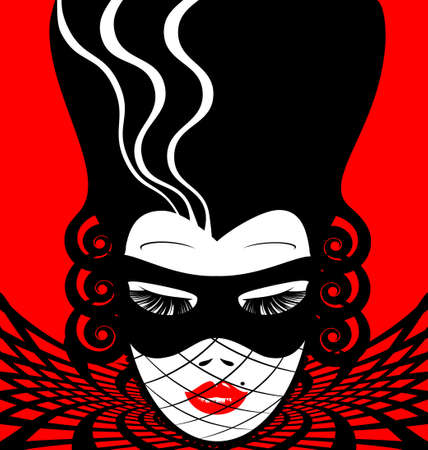 mode: abstract red-black woman s face with carnival mask Illustration