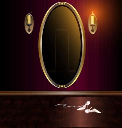 dark red room, large mirror and ladies shoes on the floor Vector