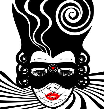 hair mask: abstract white-black woman s face with carnival mask-target