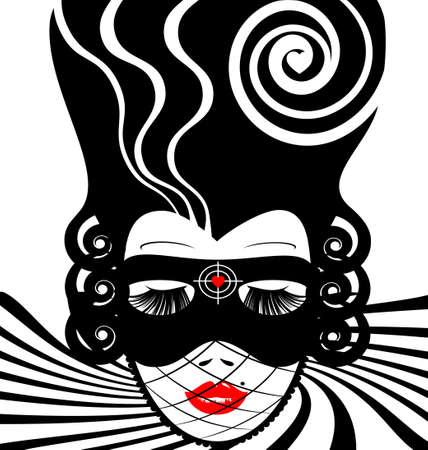 abstracte wit-zwart vrouw s gezicht met carnaval masker-target