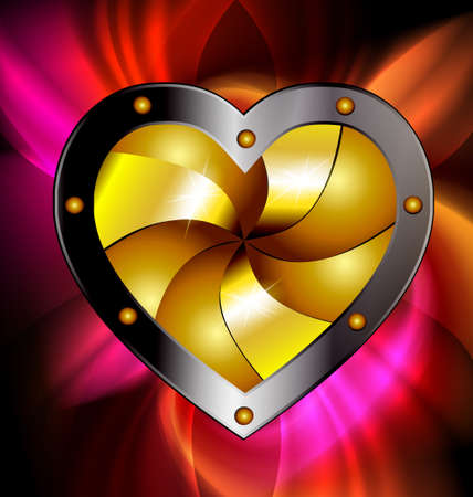 on a dark-red background is a big golden metal heart Vector