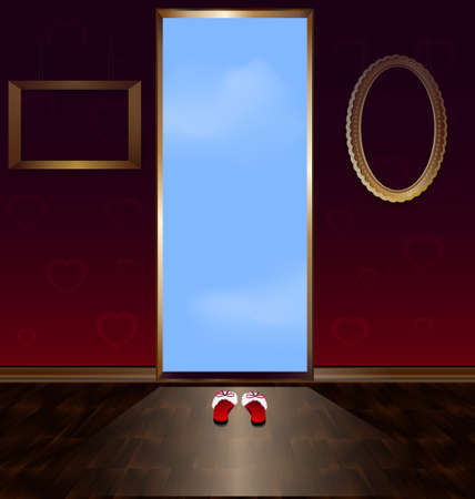 abstract room with home-shoes and a door leading to the sky Vector