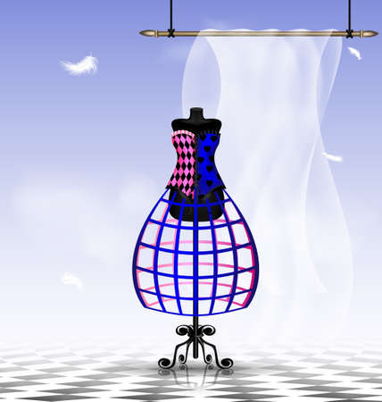 layman: in abstract sky-room is a big black dummy in a multi-colored corset Illustration