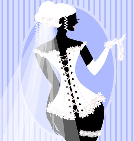 mode: abstract bride in white corset with veil