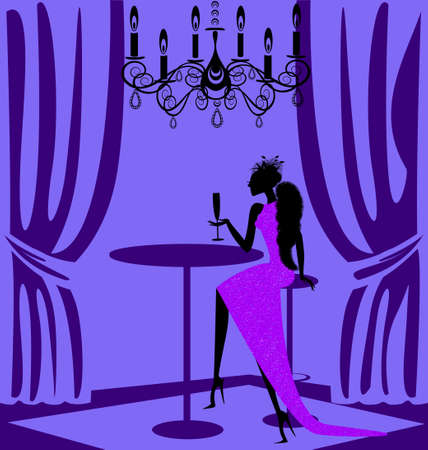 beauty saloon: in abstract cafe is lady in purple dress with glass