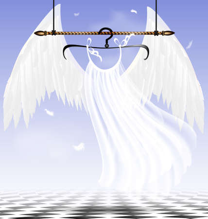 in abstract sky-room is a hanger with white wings of an angel Stock Vector - 19099512