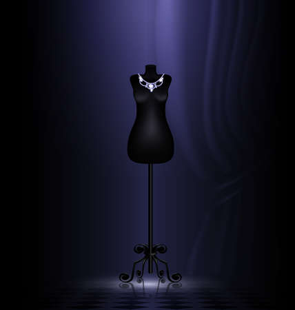 in dark room is black craft dummy with jewelry necklace Vector
