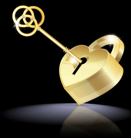 configurations: on a dark background are golden key and lock