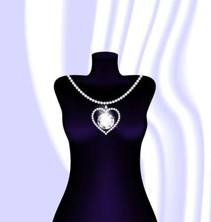 luxo: manequim escuro abstrato e um colar de j