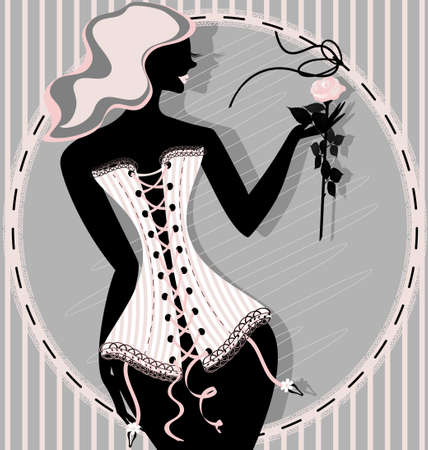 abstract lady in pink corset with rose