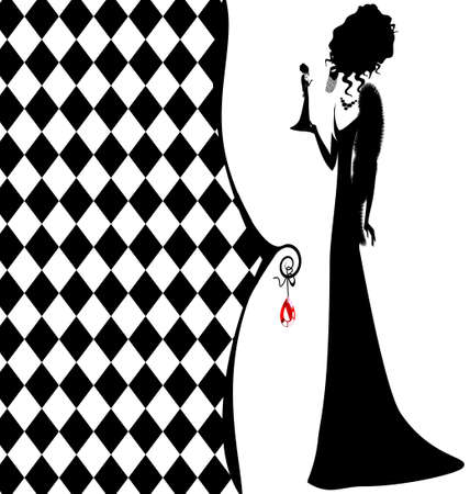 high contrast: abstract white-black background with a silhouette of high lady Illustration