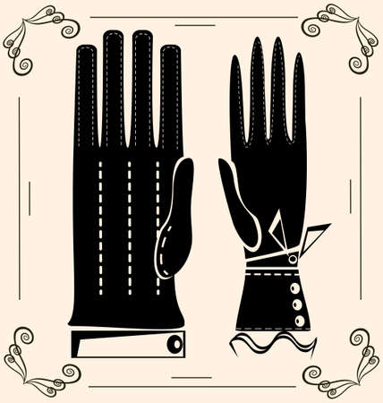 on light background are outlines woman s and man s gloves Vector