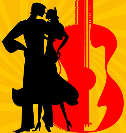 dancer silhouette: on abstract red-yellow background are couple of Spanish dancers