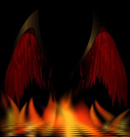 daemon: in abstract dark burning room are black wings of an dark angel