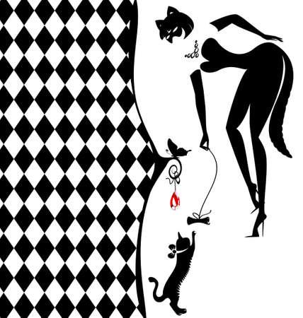silueta gato negro: resumen fondo blanco-negro con una silueta de la niña y el gato Vectores