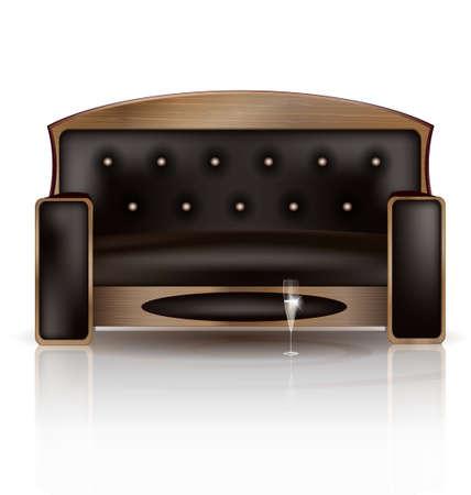 divan: un gran sofá marrón y una copa de vino
